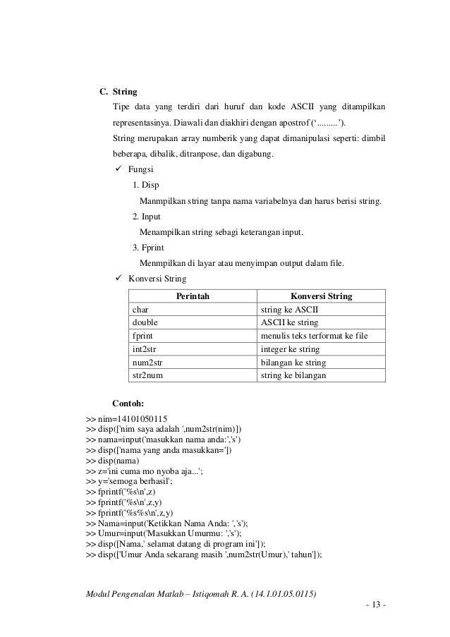 pengenalan matlab 16 638 - Jenis Dan Tipe Data Dalam Matlab