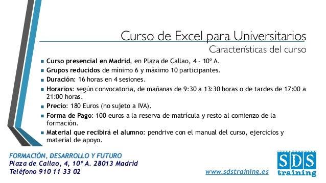 Curso de excel para universitarios sds training - Cursos universitarios madrid ...