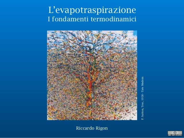 L'evapotraspirazione I fondamenti termodinamici P.Sutton,Tree,1958-TateModern Riccardo Rigon