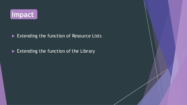 NOT ON THE LIST: Developing collections  beyond resource lists