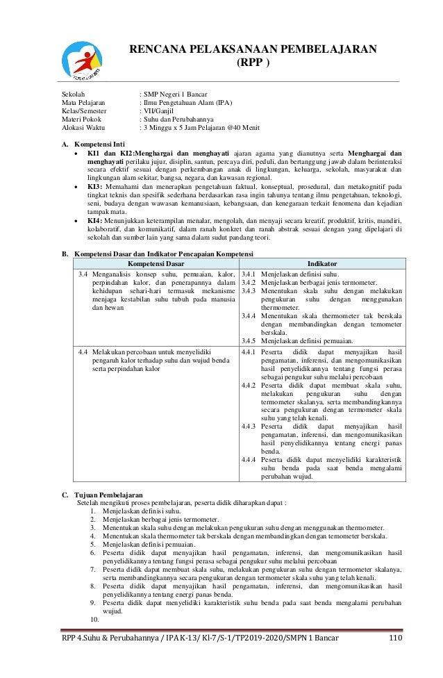 Rpp Ipa Kelas 7 Smp Bab 4 Suhu Dan Perubahannya