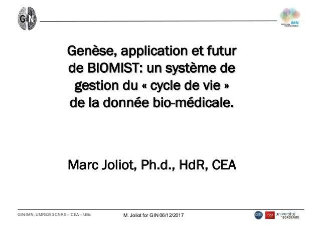 GIN-IMN, UMR5293 CNRS – CEA – UBx M. Joliot for GIN 06/12/2017 Genèse, application et futur de BIOMIST: un systèm...