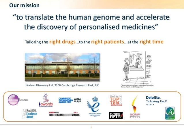 """Our mission  """"to translate the human genome and accelerate  the discovery of personalised medicines""""  Tailoring the right ..."""