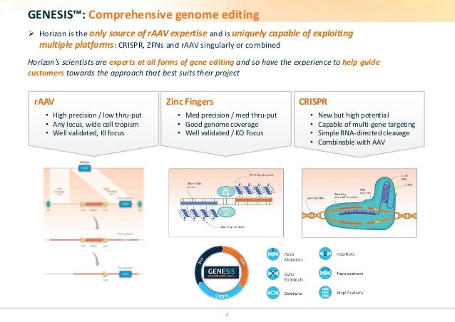 GENESIS™: Comprehensive genome editing   Horizon is the only source of rAAV expertise and is uniquely capable of exploiti...
