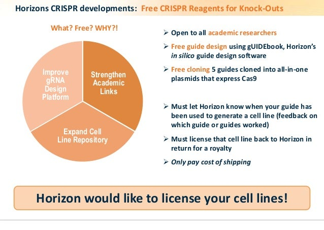 Horizons CRISPR developments: Free CRISPR Reagents for Knock-Outs   Open to all academic researchers   Free guide design...