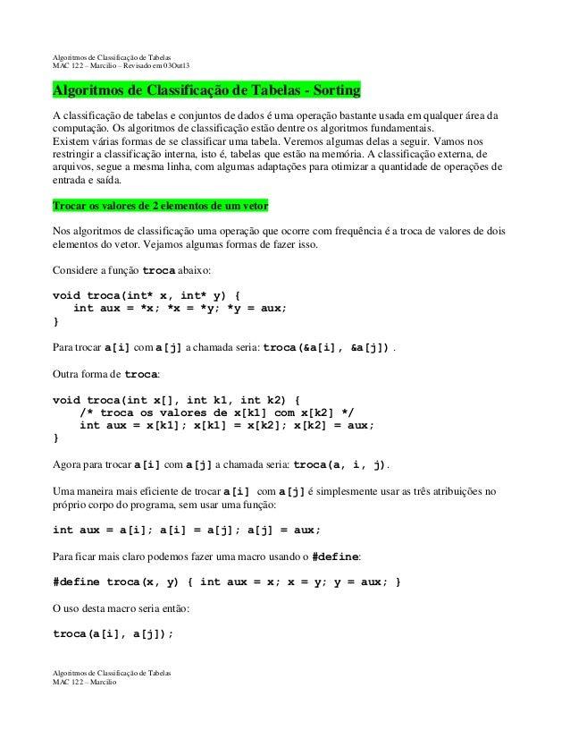 Algoritmos de Classificação de Tabelas MAC 122 – Marcilio – Revisado em 03Out13  Algoritmos de Classificação de Tabelas - ...