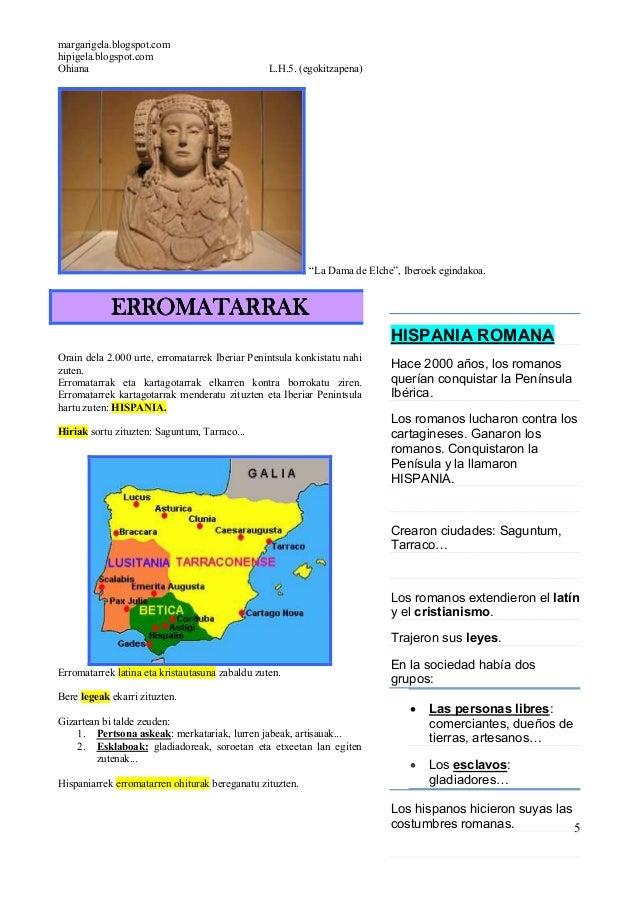 """margarigela.blogspot.comhipigela.blogspot.comOhiana L.H.5. (egokitzapena)5""""La Dama de Elche"""", Iberoek egindakoa.ERROMATARR..."""