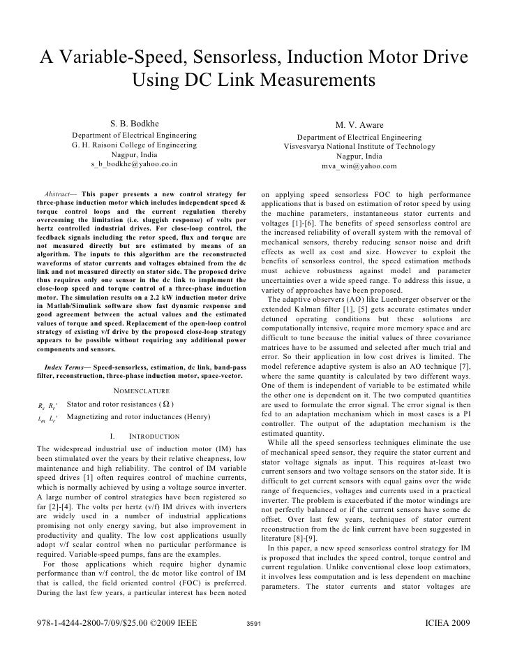 A Variable-Speed, Sensorless, Induction Motor Drive           Using DC Link Measurements                         S. B. Bod...