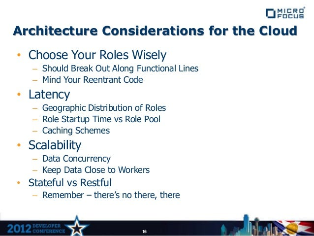 Architecture Considerations for the Cloud• Choose Your Roles Wisely   – Should Break Out Along Functional Lines   – Mind Y...