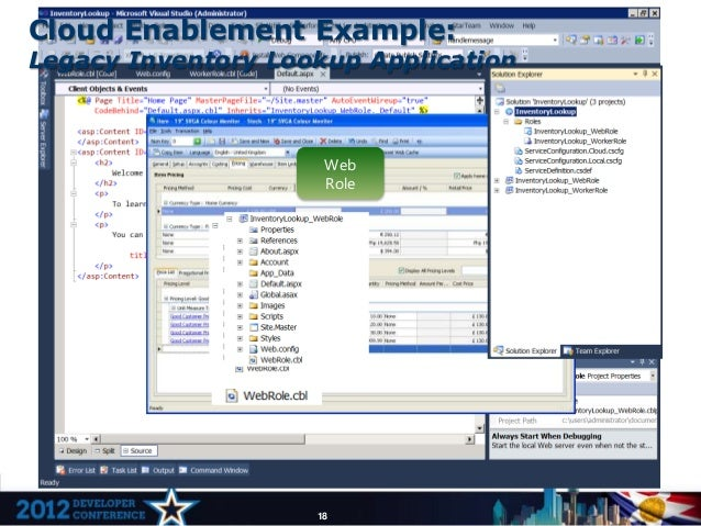 Cloud Enablement Example:Legacy Inventory Lookup Application                     Web                     Role             ...