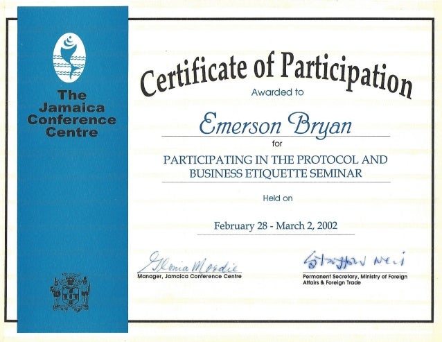 Certificate: Protocol and Business Etiquette