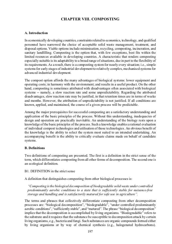 CHAPTER VIII. COMPOSTINGA. IntroductionIn economically developing countries, constraints related to economics, technology,...