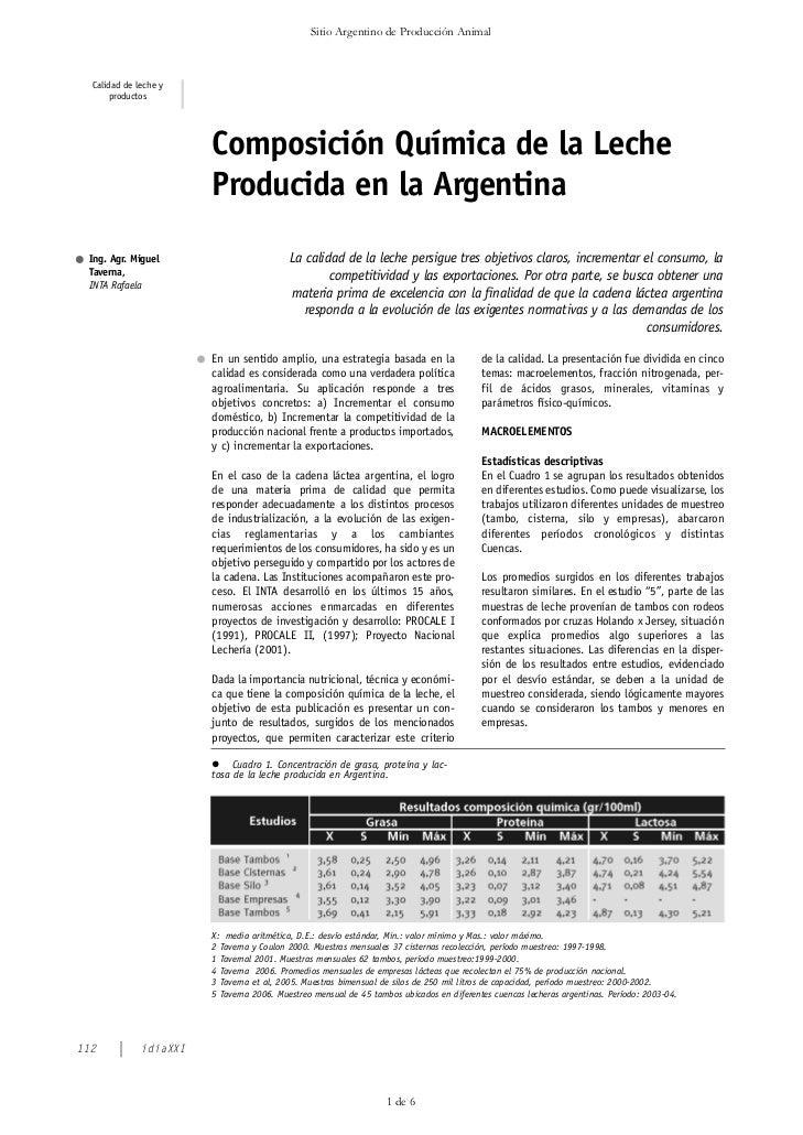 Sitio Argentino de Producción Animal  Calidad de leche y       productos                        Composición Química de la ...