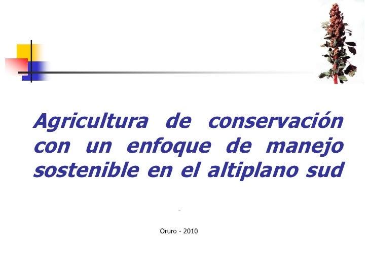Agricultura de conservación con un enfoque de manejo sostenible en el altiplano sud<br />Oruro - 2010<br />