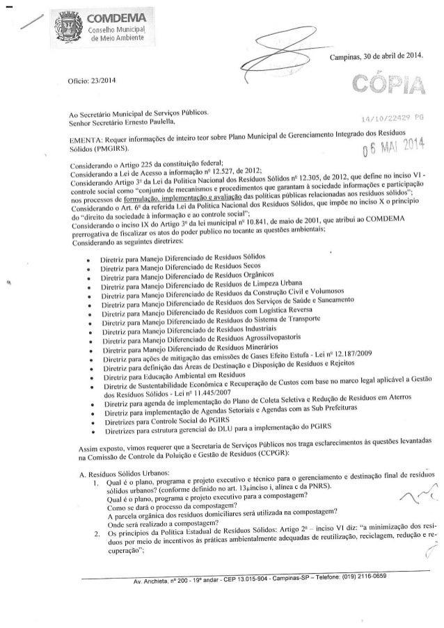 lu              . .  Conselho nlumcipal_  de Meio Ambiente /  Campinas,  30 de abril de 2014.  Oficio:  23/2014  Ao Secret...