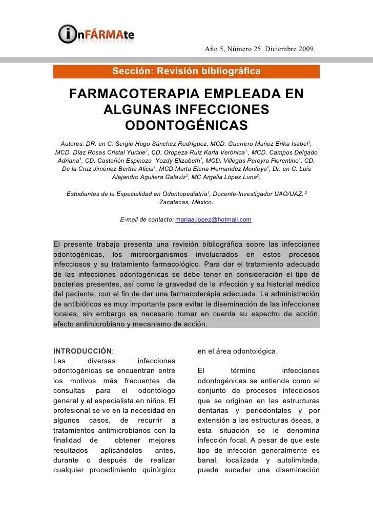 Año 5, Número 25. Diciembre 2009.                      Sección: Revisión bibliográfica      FARMACOTERAPIA EMPLEADA EN    ...