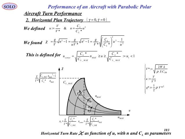 103 Performance of an Aircraft with Parabolic PolarSOLO MAX MAX L MAXL n n C C V g 1 ** 2 _ − MAX MAXL L corner n C C V g ...