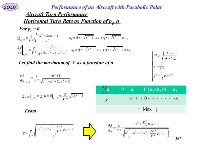 107 Performance of an Aircraft with Parabolic PolarSOLO Horizontal Turn Rate as Function of ps, n For ps = 0 2 22 12 24 0 ...