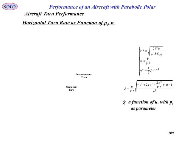 109 Performance of an Aircraft with Parabolic PolarSOLO Horizontal Turn Rate as Function of ps, n a function of u, with ps...