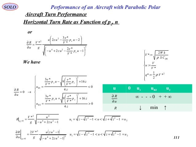 111 Performance of an Aircraft with Parabolic PolarSOLO Horizontal Turn Rate as Function of ps, n 3 24 2 2 1 * *2 2 2 * *3...