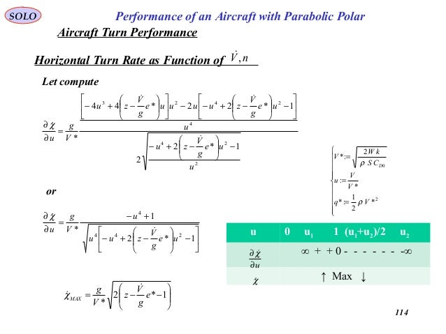 114 Performance of an Aircraft with Parabolic PolarSOLO Horizontal Turn Rate as Function of nV, Let compute 2 24 4 2423 1...