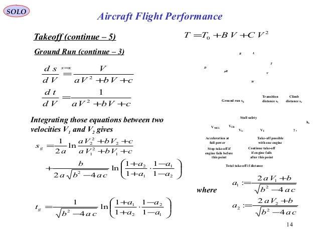 14 cVbVaVd td cVbVa V Vd sd xs ++ = ++ = = 2 2 1 Takeoff (continue – 5) Ground Run (continue – 3) Integrating those equati...
