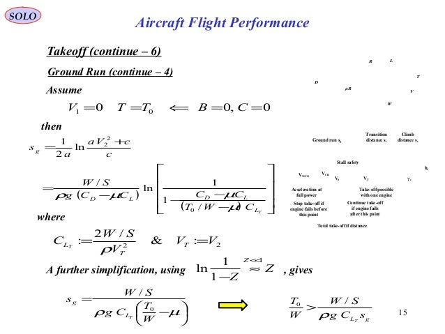 15 Takeoff (continue – 6) Ground Run (continue – 4) then ( ) ( )             − − −− = + = TL LDLD g CWT CCCCg ...