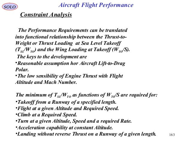 163 Constraint Analysis SOLO Aircraft Flight Performance The Performance Requirements can be translated into functional re...