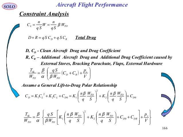 166 Assume a General Lift-to-Drag Polar Relationship Total DragRD CSqCSqRD +=+ D, CD - Clean Aircraft Drag and Drag Coeffi...