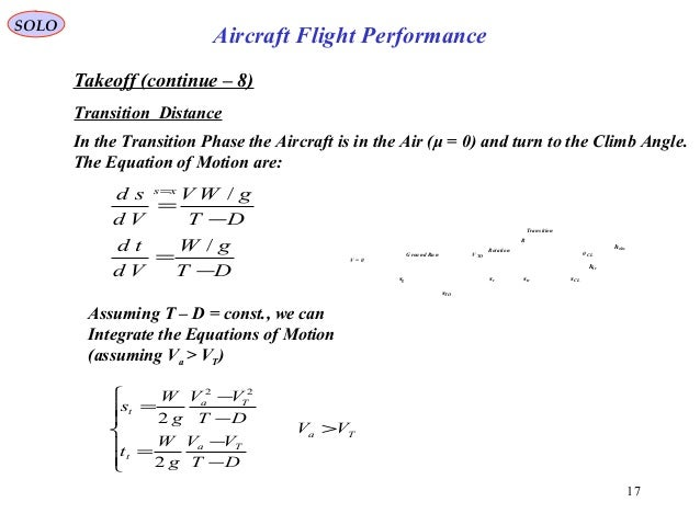 17 Takeoff (continue – 8) Transition Distance In the Transition Phase the Aircraft is in the Air (μ = 0) and turn to the C...