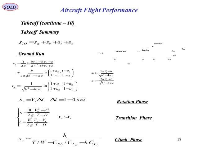 19 Takeoff (continue – 10) SOLO Aircraft Flight Performance 19 ctrgTO sssss +++= sec41−=∆∆= ttVs tr Ta Ta t Ta t VV DT VV ...