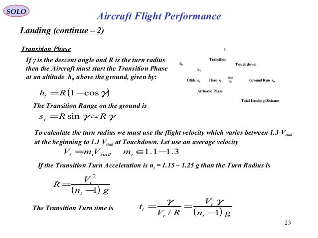 23 Landing (continue – 2) Transition Phase SOLO Aircraft Flight Performance If γ is the descent angle and R is the turn ra...