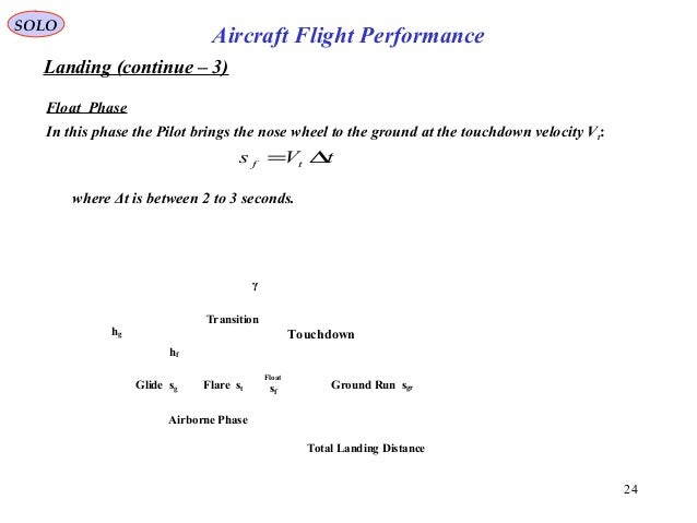 24 Landing (continue – 3) Float Phase SOLO Aircraft Flight Performance In this phase the Pilot brings the nose wheel to th...