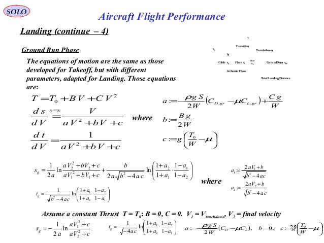 25 Landing (continue – 4) Ground Run Phase SOLO Aircraft Flight Performance The equations of motion are the same as those ...