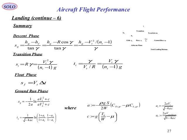 27 Landing (continue – 6) Summary SOLO Aircraft Flight Performance where ( )       −= −−= µ µ ρ W T gc CC W Sg a grL...