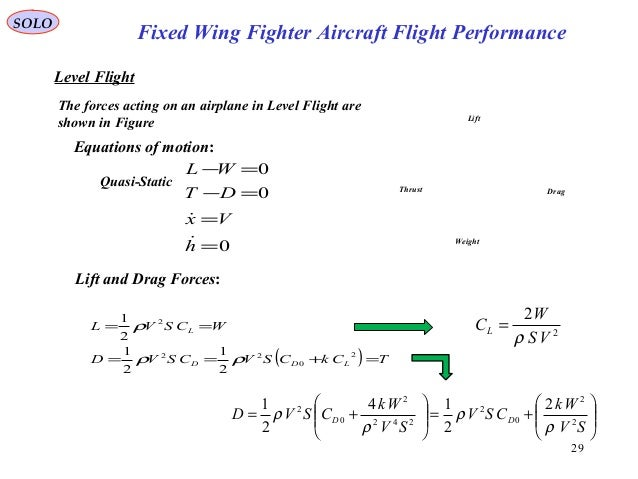 29 Fixed Wing Fighter Aircraft Flight Performance SOLO Level Flight The forces acting on an airplane in Level Flight are s...