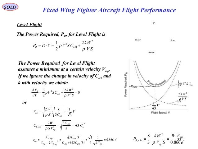 33 Fixed Wing Fighter Aircraft Flight Performance SOLO Level Flight The Power Required, PR, for Level Flight is SV Wk CSVV...