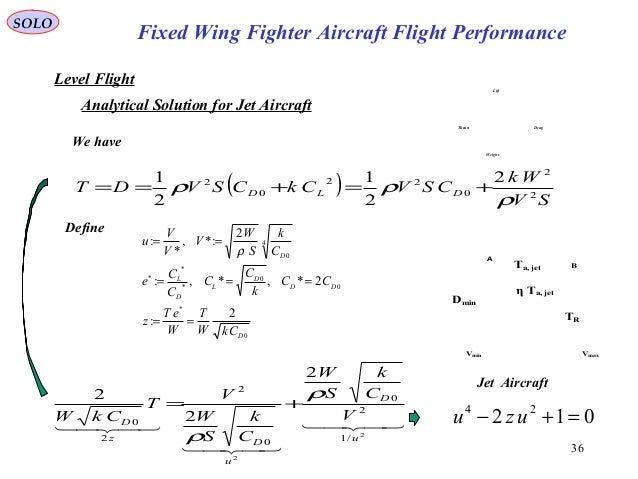 36 Fixed Wing Fighter Aircraft Flight Performance SOLO Vmin Vmax Ta, jet TR Dmin η Ta, jet A B Jet Aircraft Level Flight W...
