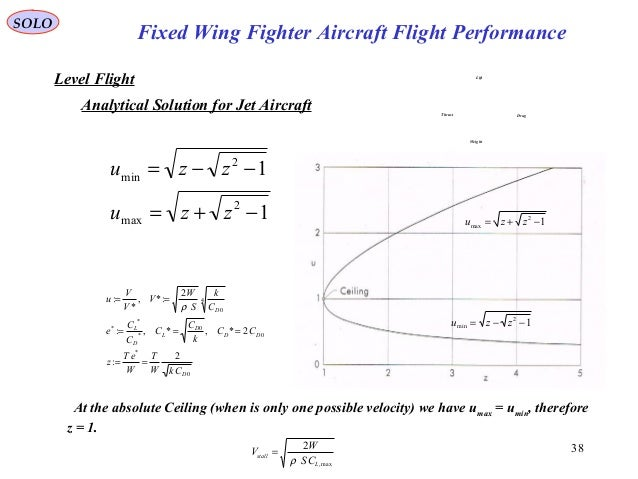 38 Fixed Wing Fighter Aircraft Flight Performance SOLO Level Flight Analytical Solution for Jet Aircraft 1 1 2 max 2 min −...