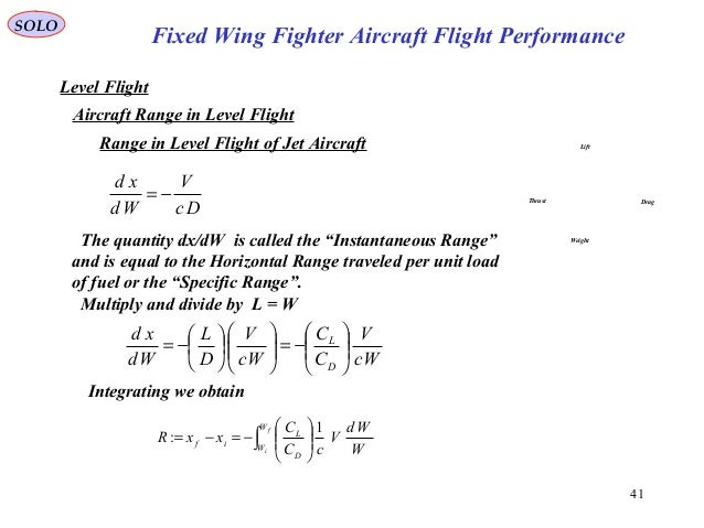 41 Fixed Wing Fighter Aircraft Flight Performance SOLO Level Flight Aircraft Range in Level Flight Lift DragThrust Weight ...