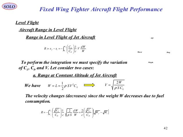 42 Fixed Wing Fighter Aircraft Flight Performance SOLO Level Flight Aircraft Range in Level Flight Lift DragThrust Weight ...