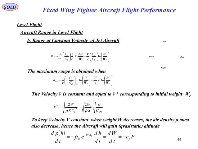 44 Fixed Wing Fighter Aircraft Flight Performance SOLO Level Flight Aircraft Range in Level Flight Lift DragThrust Weight ...