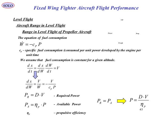 45 Fixed Wing Fighter Aircraft Flight Performance SOLO Level Flight Aircraft Range in Level Flight Range in Level Flight o...