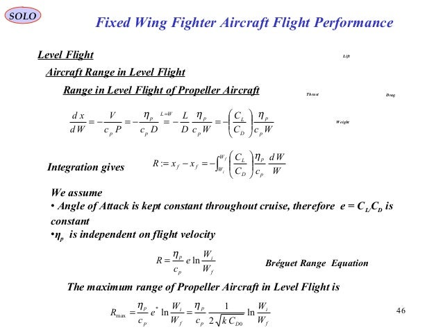 46 Fixed Wing Fighter Aircraft Flight Performance SOLO Level Flight Aircraft Range in Level Flight Range in Level Flight o...