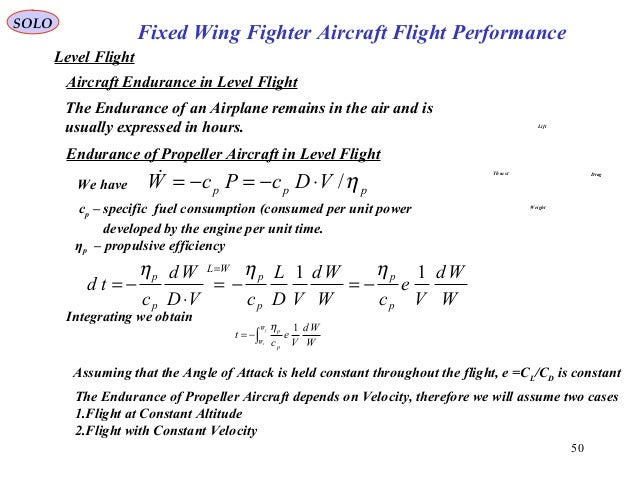 50 Fixed Wing Fighter Aircraft Flight Performance SOLO Level Flight Aircraft Endurance in Level Flight The Endurance of an...