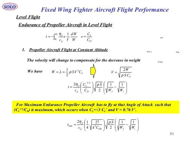 51 Fixed Wing Fighter Aircraft Flight Performance SOLO Level Flight Endurance of Propeller Aircraft in Level Flight Lift D...