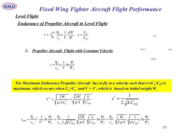 52 Fixed Wing Fighter Aircraft Flight Performance SOLO Level Flight Endurance of Propeller Aircraft in Level Flight Lift D...
