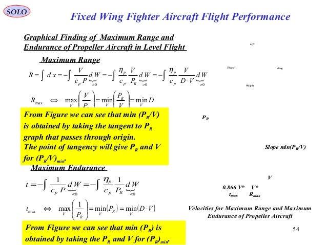 54 PR V V* Rmax 0.866 V* tmax Slope min(PR/V) Velocities for Maximum Range and Maximum Endurance of Propeller Aircraft Lif...