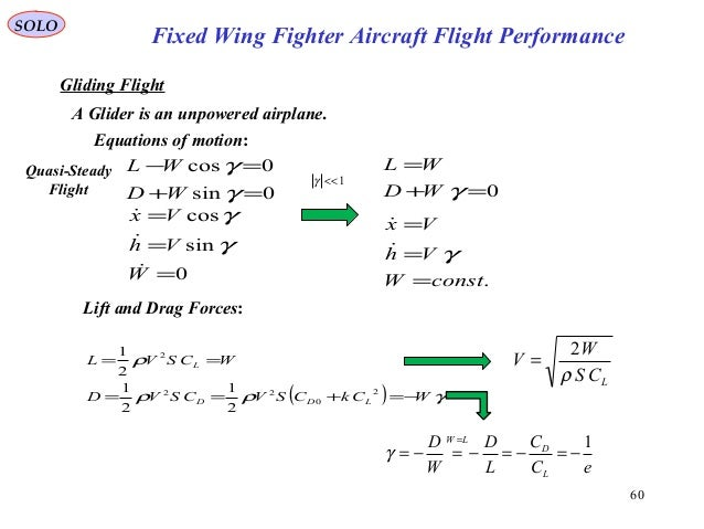 60 Fixed Wing Fighter Aircraft Flight Performance SOLO Gliding Flight A Glider is an unpowered airplane. 0 sin cos = = = W...