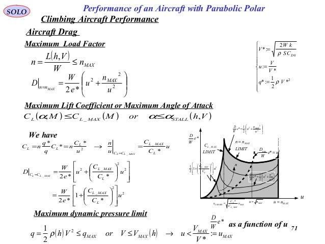 71 Performance of an Aircraft with Parabolic PolarSOLO Aircraft Drag ( ) MAXn W VhL n ≤= ,         +== 2 2 2 *2 u ...
